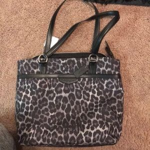Black/grey leopard print coach purse!!!